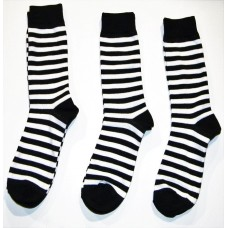 Black and White Striped Cotton Dress Socks Sz-8-12