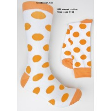 Cotton white and orange polka dot dress socks-Men's