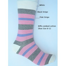 White with pink and black striped dress socks size 8-12