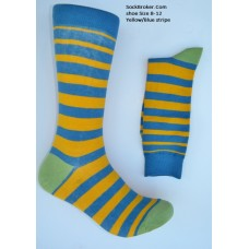 Cotton yellow and blue striped dress socks size 8-12