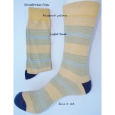 Yellow, blue and gray striped dress..