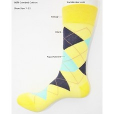 Cotton yellow black aqua argyle dress socks size 7-12