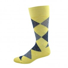 Vannucci mercerized cotton Yellow and blue argyle socks-men's