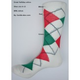 White with green, red combed cotton..