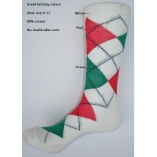 White with green, red combed cotton argyle dress socks size 8-12