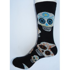 Black with white skull cotton socks- Men's