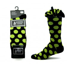 Ricci couture premium black & Lime green cotton polka-dot dress socks