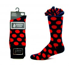 Ricci couture premium navy and red cotton polka-dot dress socks