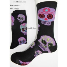 Black with purple skull cotton socks- Men's