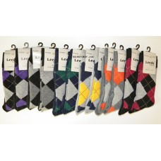 12pr  Men's Small Size 5-8 Argyle Cotton Dress Socks by Leeds