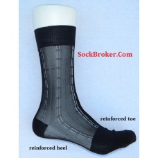 Sheer nylon black dress socks with white pinstripe men's