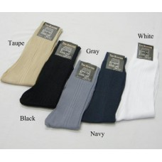 6 Assorted pairs of thin nylon ribbed dress socks