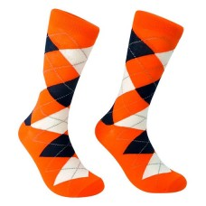 Orange Argyle Cotton Comfort Dress Socks- Men's