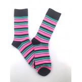 Black with Fuschia Pink Cotton Stri..