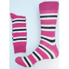 Fuchsia / Black Cotton Striped Dress Socks