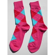 Fuschia, Turquoise, Red Cotton Argyle Socks-Men's