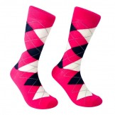 Hot Pink Cotton Argyle Dress Socks-..