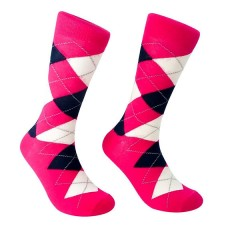 Hot Pink Cotton Argyle Dress Socks- Men's