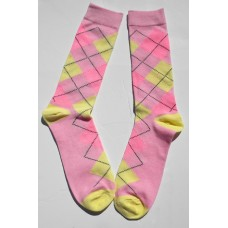 Pink with yellow and pink cotton argyle dress socks