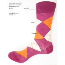 Magenta orange ivory combed cotton argyle dress socks size 8-12