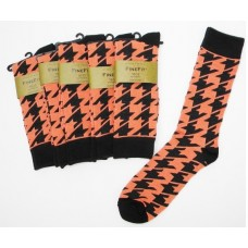 Orange Peach Cotton Hounds Tooth Dress Socks-Men's