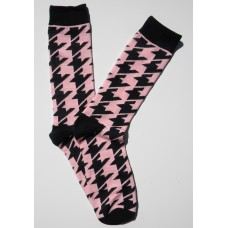 Pink / Black Houndstooth Cotton Dress Socks-Men's