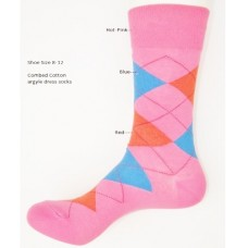 Hot pink red blue combed cotton argyle dress socks size 8-12