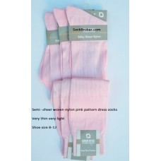 Pink sheer patterned nylon knee high dress socks-Size 8-12