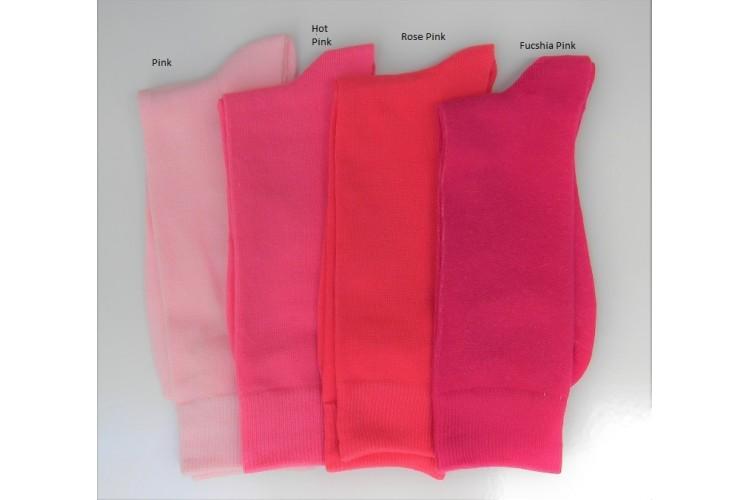 6 Pack Groomsmen Hot Pink Cotton Dress Socks Mens