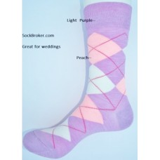 Light purple peach white combed cotton argyle dress socks size 8-12