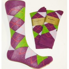 Purple With Green and Lilac combed cotton argyle dress socks size 8-12