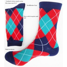 Combed cotton red, turqoise and navy argyle socks
