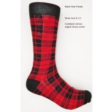 Red and black plaid combed cotton dress socks size 8-12