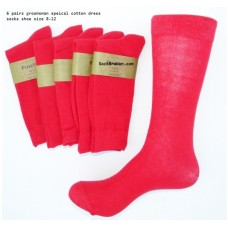 6 Pairs Of Red Groomsmen Cotton Dress Socks size 8-12