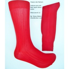 Red classic textured rayon dress socks by Stacy Adams size 8-12