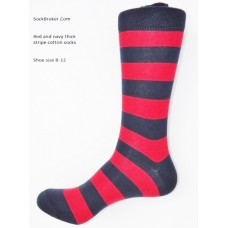 Bold red with navy thick stripe cotton dress socks- Men's 7-12