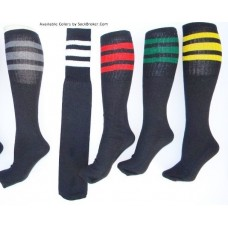 "6 Pairs Of 19"" Long Black 3 Striped Tube Socks"