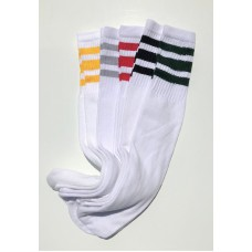 5prs  Assorted 19 inch White Tube socks with old school 3 stripes