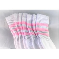 24 inch white old school tube socks w/ 3 Light baby pink stripes