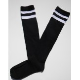 Black with 2 White Striped Knee Hig..