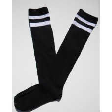 Black with 2 White Striped Knee High Socks
