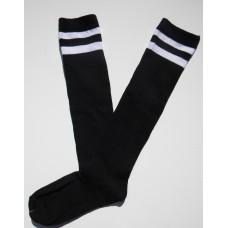 Black with 2 White Striped Knee High Socks