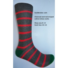 Charcoal with red cotton striped dress socks size 8-12