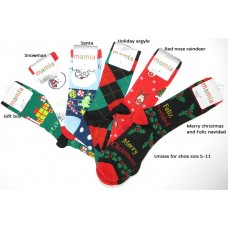 Christmas socks 6 pack assorted holiday pattern unisex 5-11 socks