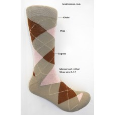 Khaki pink, cognac mercerized cotton argyle dress socks