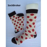 Men's beige and red polka dots crew..