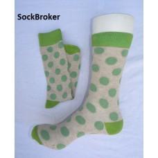 Men's beige and green polka dots crew / dress socks