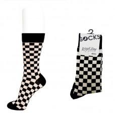 Mens black and beige checkered dress socks by Popkiller