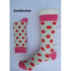 Off white with pink and red polka dots crew / dress socks-men's