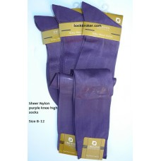 Purple sheer nylon knee high dress socks-Size 8-12